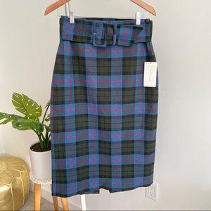 Zara • NWT Plaid Midi Skirt